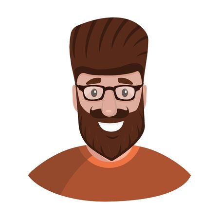 Hipster with a beard and glasses isolated on a white background portrait. Flat cartoon design, vector illustration Illustration