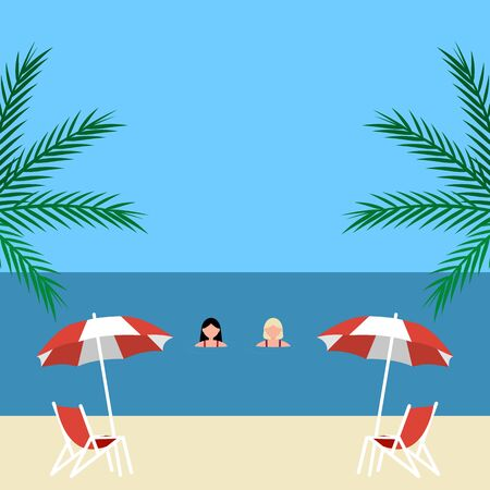 Young woman swims in the sea on vacation on vacation. Cartoon flat design, vector illustration. Иллюстрация