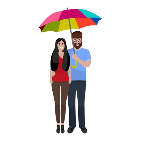 Man and woman with rainbow umbrella in a good mood isolated on white background