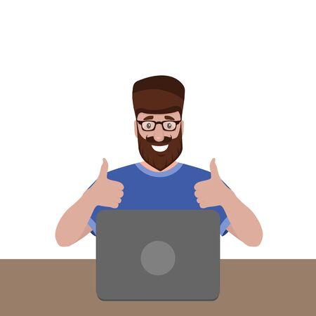 Man sitting working at a laptop. Cartoon vector illustration, flat design
