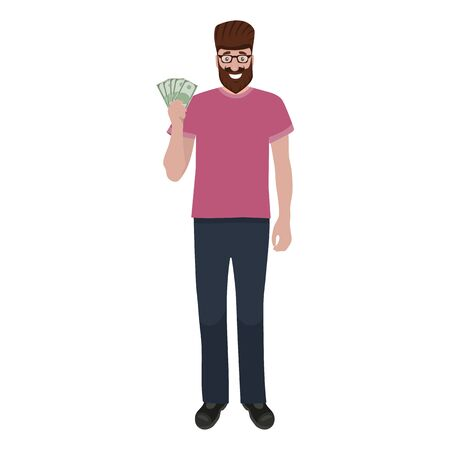 Man holds money in his hands and enjoys his salary. Cartoon vector illustration, flat design Illustration