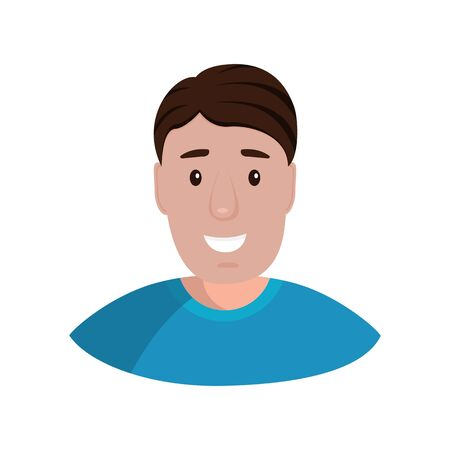 Man isolated on a white background portrait. Flat cartoon design, vector illustration