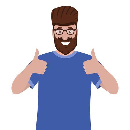 Man with a beard shows a thumb up like sign. Cartoon vector illustration, flat design Illustration