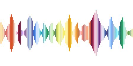 Colored sound waves. Music tracks, flat design vector