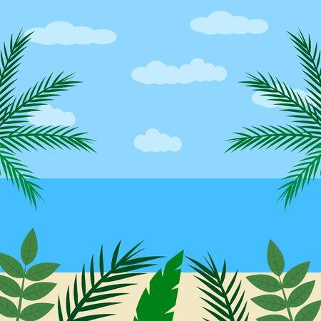 Paisaje en estilo plano de dibujos animados. Playa fantástica con palmeras y orilla del mar. Ilustración vectorial Ilustración de vector