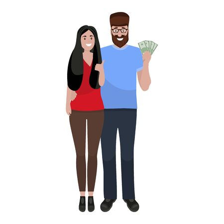 Loving couple rejoices at the money.