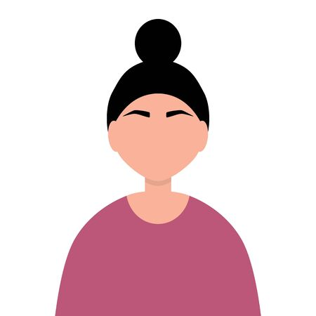 Friendship of the peoples of the world. Asian woman flat flat design isolated on white . Cartoon Vector illustration