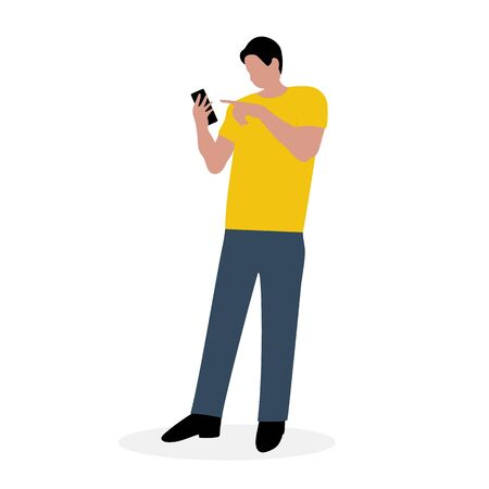 Man with a cellphone. Cartoon flat design, vector illustration 일러스트
