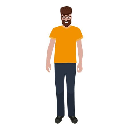 Man with a beard and glasses isolated on a white background portrait. Flat cartoon design, vector illustration