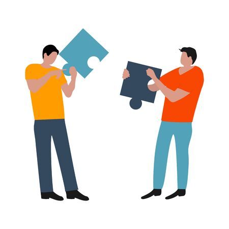 People connected puzzle pieces. Performing work according to the instructions. Joint collaboration of a group of persons. Flat cartoon design, vector illustration