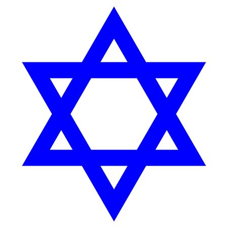 Star of David with the flag of Israel. Icon on a white background in isolation, flat vector illustration Illustration