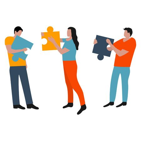 People connected puzzle pieces. Performing work according to the instructions. Joint collaboration of a group of persons. Flat cartoon design, vector illustration.