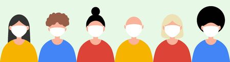 People of different nationalities in protective medical masks against the virus. Cartoon flat design, vector illustration