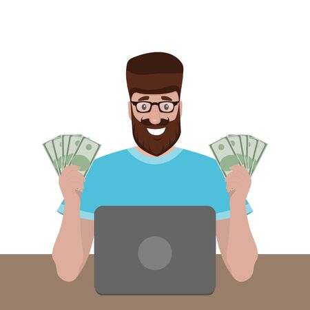 Man with money behind a laptop is pleased with a smile. Cartoon flat design people, vector illustration