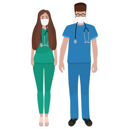 Young male and female doctors with stethoscope in a hospital. Cartoon flat, vector illustration.