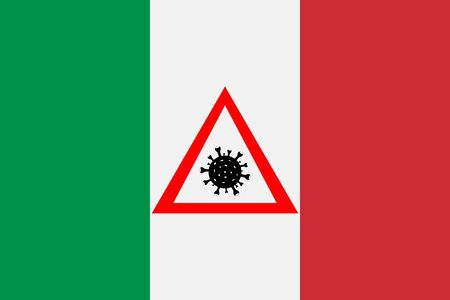 Sign with coronavirus on the flag of Italy.
