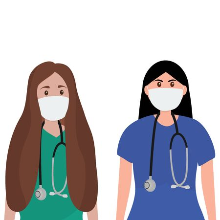 Young female doctor with stethoscope in a hospital. Cartoon flat, vector illustration