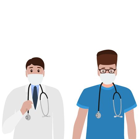 Young doctor with a stethoscope in a hospital. Cartoon flat, vector illustration