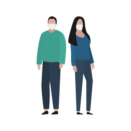 Man and woman in a protective mask against viruses. Fashion trendy illustration, flat design. Pandemic and epidemic of coronavirus in the world
