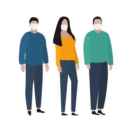 Woman in a protective mask against viruses. Fashion trendy illustration, flat design. Pandemic and epidemic of coronavirus in the world