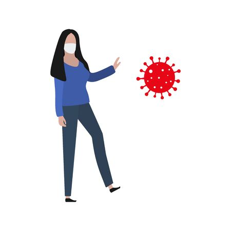 Woman in a protective mask resists the virus. Fashion trendy illustration, flat design. Pandemic and epidemic of coronavirus in the world Standard-Bild - 145031326