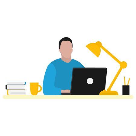 Man works at a laptop. Fashion trend vector illustration, flat design