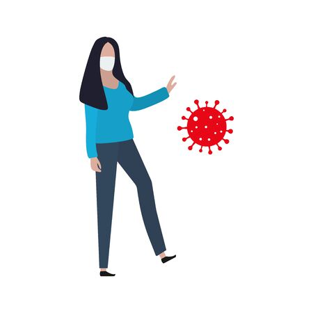 Woman in a protective mask resists the virus. Fashion trendy illustration, flat design. Pandemic and epidemic of coronavirus in the world Standard-Bild - 145031328