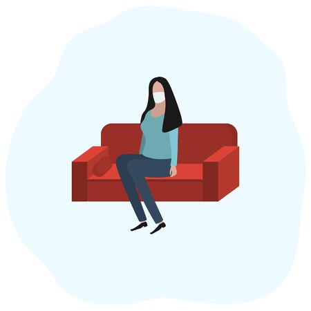 Woman sitting at home on a sofa in a medical mask. Fashion trendy illustration, flat design. Pandemic and epidemic of coronavirus in the world