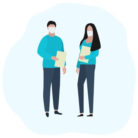 Man and woman with documents in medical masks. Fashion trendy illustration, flat design. Pandemic and epidemic of coronavirus in the world