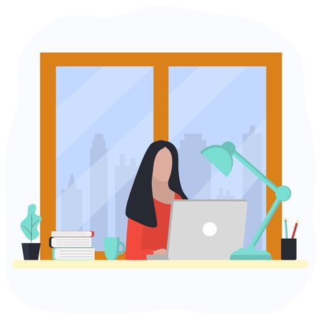 Woman works at a laptop. Fashion trend vector illustration, flat design