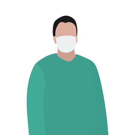 Man in a protective mask against viruses. Fashion trendy illustration, flat design. Pandemic and epidemic of coronavirus in the world