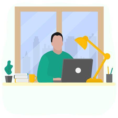 Man works at a laptop. Fashion trend vector illustration, flat design.