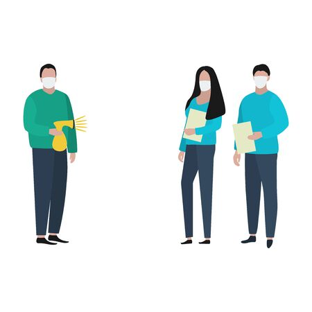 Man and woman with documents in medical masksand patient with an antiseptic spray. Fashion trendy illustration, flat design. Pandemic and epidemic of coronavirus in the world Illusztráció