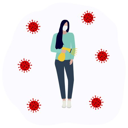Woman in a protective mask sprays an antiseptic and disinfects the virus Fashion trendy illustration, flat design. Pandemic and epidemic of coronavirus in the world Standard-Bild - 145675796