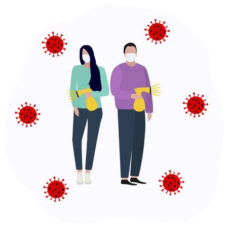 Woman and man in a protective mask sprays an antiseptic and disinfects the virus Fashion trendy illustration, flat design. Pandemic and epidemic of coronavirus in the world Standard-Bild - 145675794