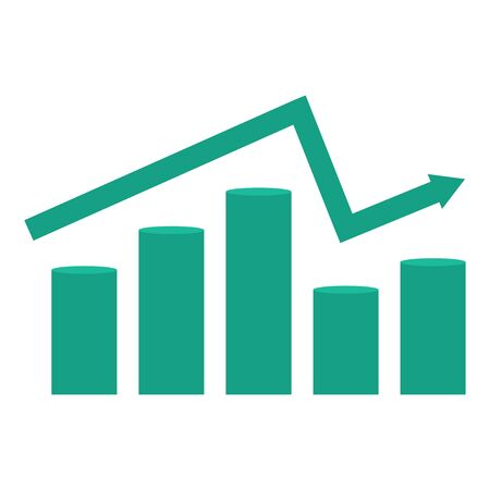 Graph of growth of falls and profits. Vector diagram with arrow and columns, flat illustration. Imagens - 146020147