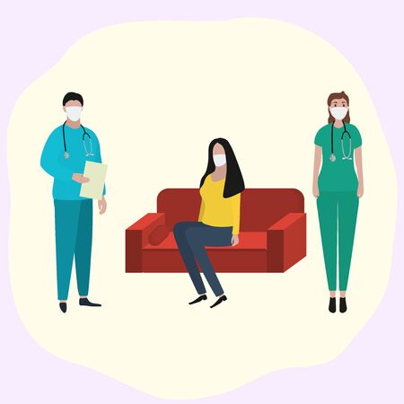 Woman sits at home on the sofa in a medical mask is sick and a doctor is standing nearby. Fashion trendy illustration, flat design. Pandemic and epidemic of coronavirus in the world