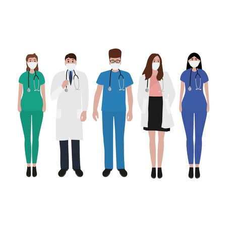 Young male and female doctors with stethoscope in a hospital. Cartoon flat, vector illustration