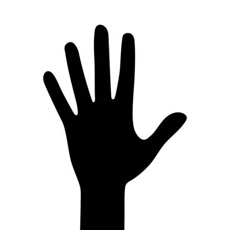Silhouettes of hand isolated on a white background. Vector flat illustration Imagens - 146041099
