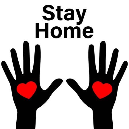 Slogan call and hashtag Sit at home with a picture heart in hand. Vector flat illustration with housing logo. Epidemic Cove 19 with calling is all people at home