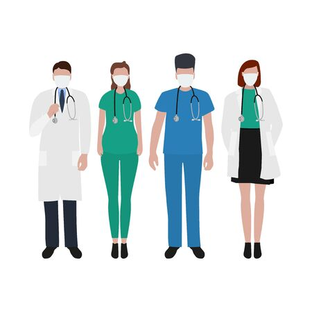 Young male and female doctors with stethoscope in a hospital. Cartoon flat, vector illustration Imagens - 147978323