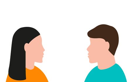 Man and a woman are looking at each other. Vector illustration, flat design Illusztráció