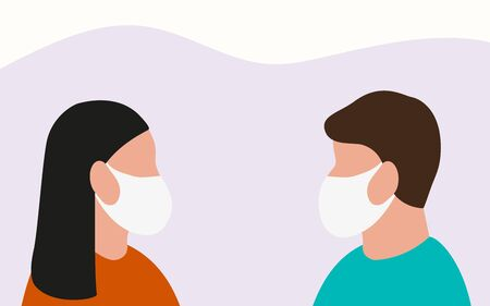 Man and woman in medical masks protect themselves from the epidemic. Cartoon flat design, vector illustration about the diseas