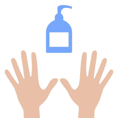 Antiseptic soap and clean hands icon isolated on white background. Flat illustration vector Illusztráció