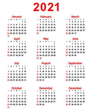 Calendar of the New Year 2021. Vector illustration for design. Ilustração