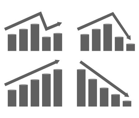 Set of graphs of rising and falling prices.. Vector diagram with arrow and columns, flat illustration
