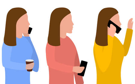Woman with a phone in her hand, talking on the phone. Set of vector illustrations on the theme of mobile communications, flat design. Standard-Bild - 151354146
