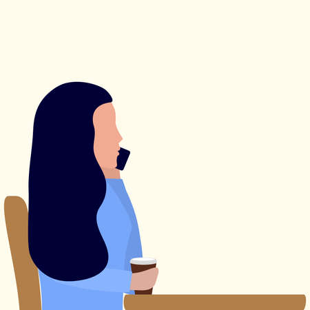 A woman is sitting at a table in a cafe and talking on a cell phone. Girl with coffee vector illustration, flat design, flat design. Standard-Bild - 151212311