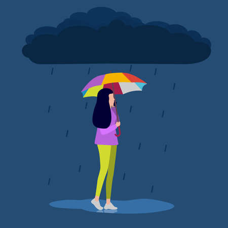 woman is talking on the phone and walking down the street in the rain. Vector illustration, flat design.