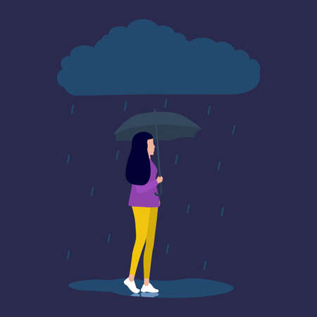 woman is talking on the phone and walking down the street in the rain. Vector illustration, flat design. Standard-Bild - 154130643